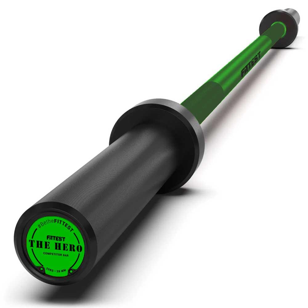 Barra Olímpica The Hero 20Kg na cor verde - Fittest Equipment